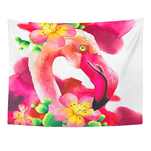 - Emvency Tapestry Wall Hanging Abstract Watercolor on White with Pink Flamingo Tropical Bird Paradise Animal Polyester Fabric Home Decor for Living Room Bedroom Dorm 60x80 Inches