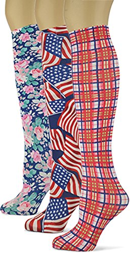 (Knee High Trouser Socks w/Colorful Printed Patterns - Made in USA by Sox Trot (3 Patriotic))