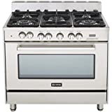 "Appliances : Verona VEFSGE365NSS 36"" Freestanding Dual Fuel Range with 5 Sealed Burners in Stainless Steel"