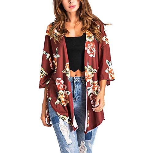 ZFFde Invierno Side Split Irregular Floral Kimono Cardigan Coat Mujeres 3/4 Sleeve Loose Outwear (Color : Red, tamaño : XL)
