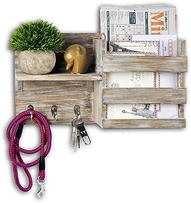 Key/&Mail Holder Rack Letter Organizer Wood Wall Hook Mount Entryway Hook Storage