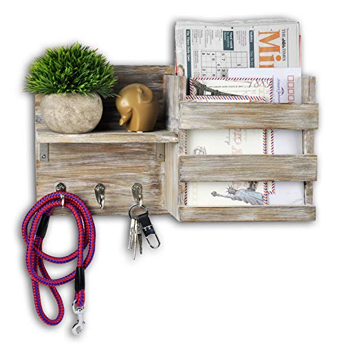 Spiretro Wall Mount Entryway Mail Envelope Organizer, Key Holder Hooks, Leash Hanging, Coat Rack, Letter & Newspaper Storage, Ornament Home Decorative Floating Shelf, Country Rustic Torched Wood-Grey (Wall Mail Organizers)