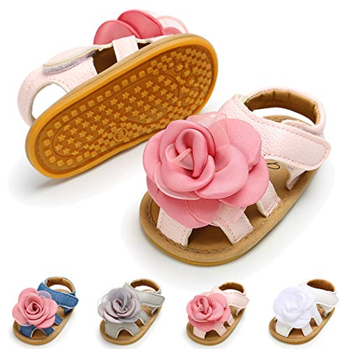 Baby Girl Sandals Anti-Slip Rubber Sole Summer First Walkers with Flower Newborn Shoes Infant Sandals Girls(6-12 Months M US Infant,B-Pink)