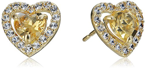 10k Yellow Gold Heart Citrine and Round Created White Sapphire - Gold Heart Citrine