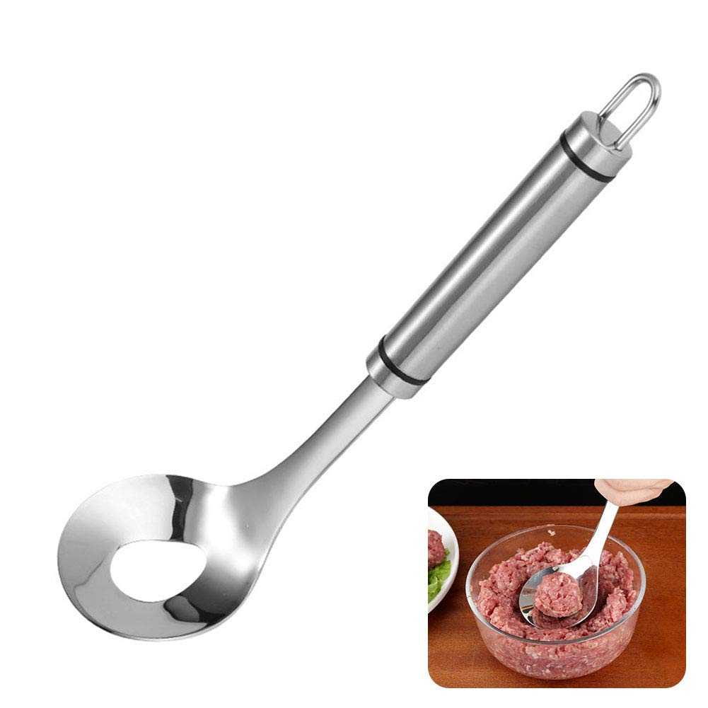 Meatball Spoon, Stainless Meatball Spoon Non-Stick Meat Spoon Maker with Long Handle Spoon Scoop Meatball Spoons for Kitchen Spaghetti Cooking by Cozy69