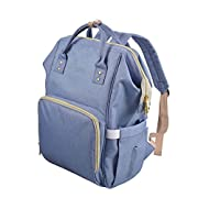 Diaper Bag Backpack w/Removable Changing Pad, FDA Registered Waterproof Multi-Function Nappy Bags for Baby Care and Travel, Purple Blue - by Sable