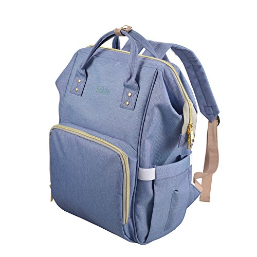 Diaper Bag Backpack w/Removable Changing Pad, FDA Registered Waterproof Multi-Function Nappy Bags for Baby Care and Travel, Purple Blue – by Sable