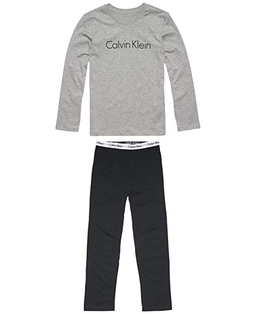 Calvin Klein LS Knit PJ Set Pijama, Gris (Grey Heather W/Black 044