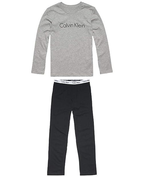 Pijama De Jersey Calvin Klein Muchachos Logo Clásico De Manga Larga Ajustado, Negro / Gris Heather: Amazon.es: Ropa y accesorios