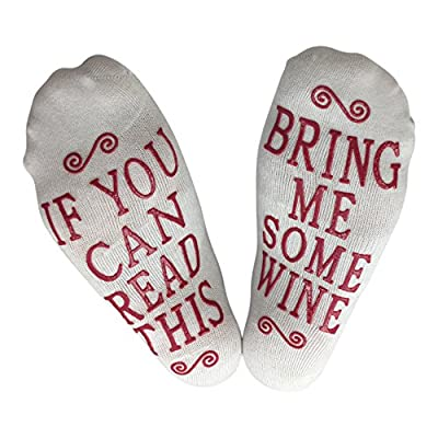 If You Can Read This Bring Me Some Wine Gift Socks - Perfect Hostess or Housewarming Gift Idea, Birthday Present, or Mother's Day Gift for a Wine Enthusiast