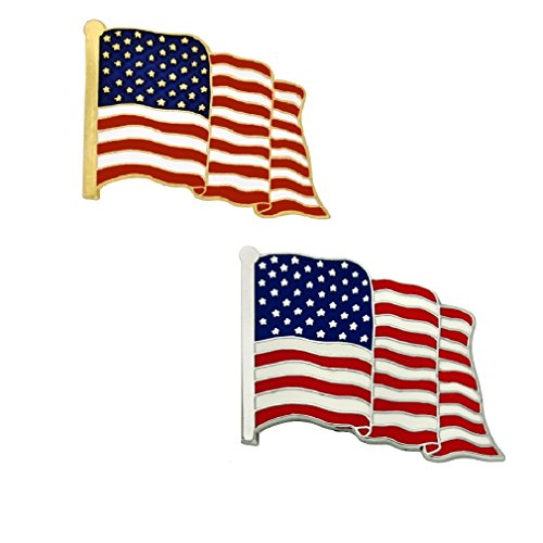 PinMart Made in The USA American Flag Patriotic Enamel Lapel Pin Silver and Gold