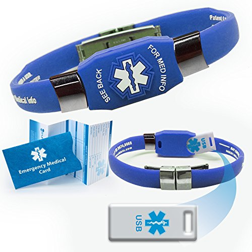 Waterproof ELITE USB blue silicone medical alert ID bracelet with 2 GB USB (Blue)