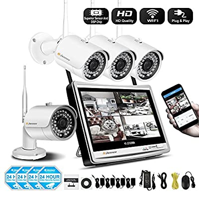 "Jennov 4 Channel Wireless CCTV Home IP Security Camera System With 12"" LCD HD Monitor 1080P NVR Kit 960P Bullet WiFi Cameras Waterproof Outdoor Indoor Video Surveillance (NO HDD) by Shenzhen Dianchen Industrial Co.,Ltd"