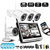 Jennov 4 Channel Wireless CCTV Home IP Security Camera System 12 LCD HD Monitor 1080P NVR Kit 960P Bullet WiFi Cameras Waterproof Outdoor Indoor Video Surveillance (No HDD)
