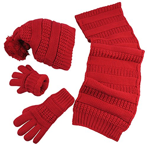 - N'Ice Caps Women's Solid Cable Knit Hat/Scarf/Gloves Accessory Set (One Size, Red)
