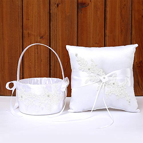 TRUE LOVE GIFT Wedding Bridal Ring Bearer Pillow & Flower Girl Basket Set Lace Flower Wedding Pillow Wedding Anniversary Celebrations Party Decoration