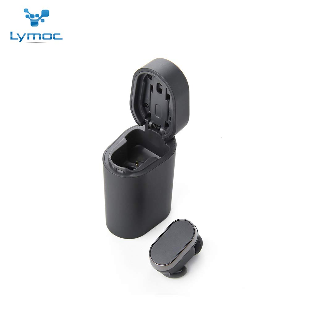 LYMOC V5.0 Wireless Earbuds Bluetooth Earphones TWS Mini Headset Charger Bar Auto Paired HiFi Noise Cancelling Portable Earpieces Microphone Handsfree Compatible All Phones Gray Single