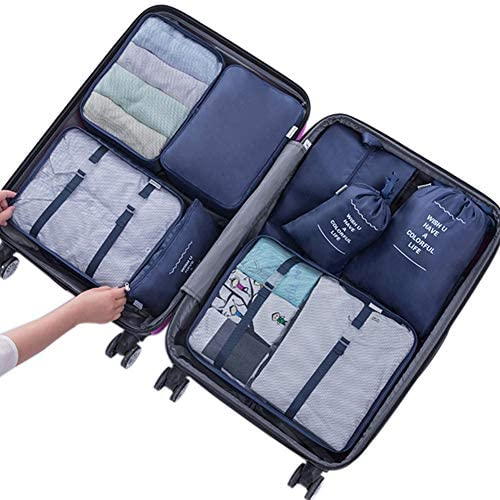 9e3e55328b30 Belsmi 8 Set Packing Cubes - Waterproof Mesh Compression Travel Luggage  Packing Organizer With Shoes Bag (Navy Blue)