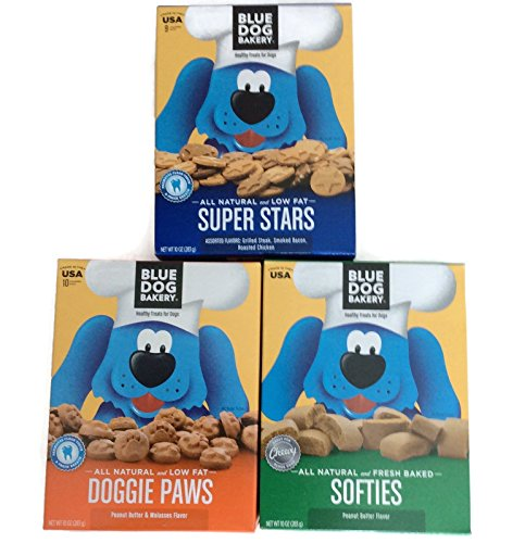 Blue Dog Bakery Bundle of 3 Boxes of Dog Treats Includes One Box of Super Stars, One box of Doggie Paws and One Box of Softies