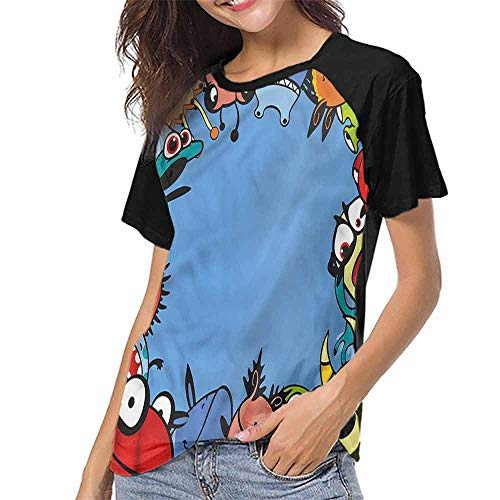 Mangooly T Shirt Print Girls Tee,Funny,Cheerful Monster Creatures S-XXL T Shirt Print Short Sleeve]()