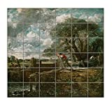 A Boat Passing A Lock (Constable) Square Tile Mural Satin Finish 36''Hx36''W 6 Inch Tile