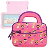 Evecase Fire HD Kids Edition Tablet / Kindle Oasis E-Reader Sleeve, Cute Princess Themed Neoprene Travel Carrying Slim Sleeve Case Bag w/ Dual Handle and Accessory Pocket - Pink w/ Purple Trim