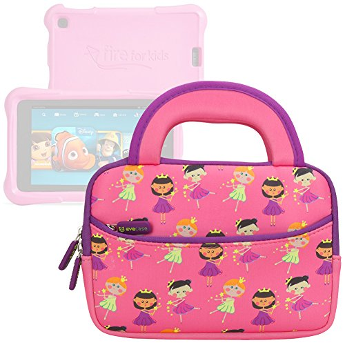 Evecase All-New Fire 7 Kids Edition Tablet Sleeve, Cute Princess Themed Neoprene Travel Carrying Slim Sleeve Case Bag w/ Dual Handle and Accessory Pocket - Pink w/ Purple Trim