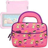 Evecase All Fire 7 Kids Edition Tablet Sleeve, Cute Princess Themed Neoprene Travel Carrying Slim Sleeve Case Bag w/Dual Handle and Accessory Pocket - Pink w/Purple Trim