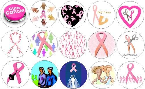 Set of 15 BREAST CANCER AWARENESS Magnets ~ Pink Ribbon