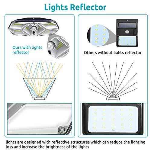 2PCS 104 LED Luce Solare Led Esterno, Lampade Solari a led da Esterno con Sensore di Movimento, 120ºIlluminazione Lampada Solare 3 Modalità Impermeabile Luci Solari per Esterno