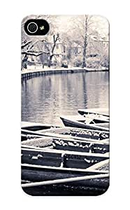 Honeyhoney New Arrival HJtuLi-3241-ishVR Premium Iphone ipod touch4 Case(canal River Bw Boats Winter Snow Trees Black White Monochrome Rivers Streams Cities Snow )