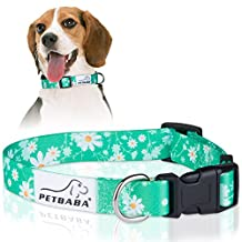 PETBABA Daisy Dog Collar, Adjustable Soft Collar with Floral Pattern Flower Print, Quick Release Clip Easy On and Off, Suitable Small to Medium Cat Pet - M in Green