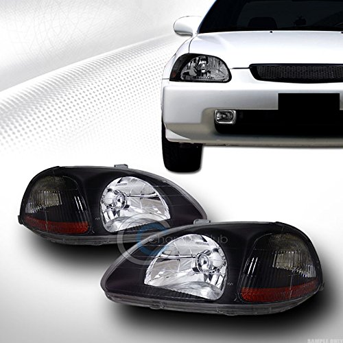 Autobotusa JDM Crystal Black Head Lights Lamps Signal Left + Right Amber DY 1996-1998 for Honda Civic 2 Door Coupe / 3 Door Hatchback / 4 Door Sedan