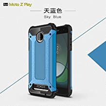 Zhusha Mobile phone case, Moto Z Play Case,Dual Layer Heavy Duty Hybrid Armour Tough Style Shockproof PC+TPU Protective Hard Case for Motorola Moto Z Play ( Color : Blue )