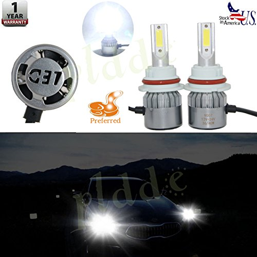 PLDDE 2pcs 9007/HB5 6000K Cool White 7200LM All-in-One LED COB Bulbs Conversion Kit For Headlights High Low Dual Beam DC 12V/24V IP67 Waterproof Pack of 2 Driver+Passenger Replacement (Oe Recommended Plug)