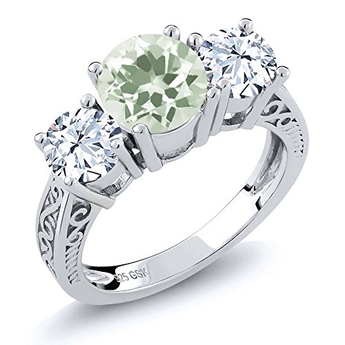 5 Round Stones Mothers Ring - 2.60 Ct Round Green Prasiolite 925 Sterling Silver 3-Stone Women's Ring (Available in size 5, 6, 7, 8, 9)