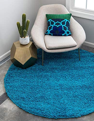 Unique Loom Solo Solid Shag Collection Modern Plush Turquoise Round Rug 8 2 x 8 2
