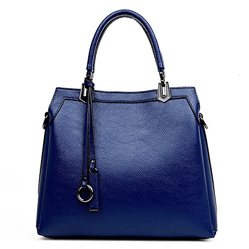 JVPS 80-C diagonal bandolera diagonal bandolera azul marino PU bolso de las mujeres bolso del totalizador bolsa de hombro de gran capacidad a prueba de agua Azul Marino