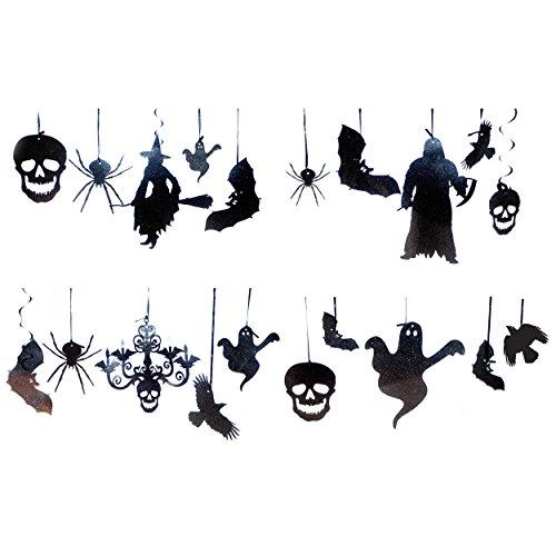 Halloween Hanging Decorations (20 PC Halloween Hanging Black Glitter Decor)