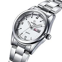 Women Fashion Stainless Steel Watch Date Day Clock Quartz Watch Luminous Watch Wrist watch LadiesWatches (white)