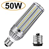 ANGROC 50W Super Bright LED Corn Lamp Bulb, 5500 Lumen (500W Equivalent) 6500K Cool White Daylight, E26 with E39 Mogul Base Adapter, for Garage Warehouse Factory Commercial Lighting and More