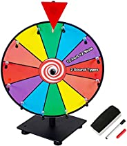 Klvied 12 Inch Heavy Duty Prize Wheel, 12 Slot Tabletop Color Spinning Wheel with 2 Model Clicker, Carnival Sp
