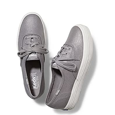 Keds Women's Triple Metallic Canvas Fashion Sneaker, Silver, 5 M US