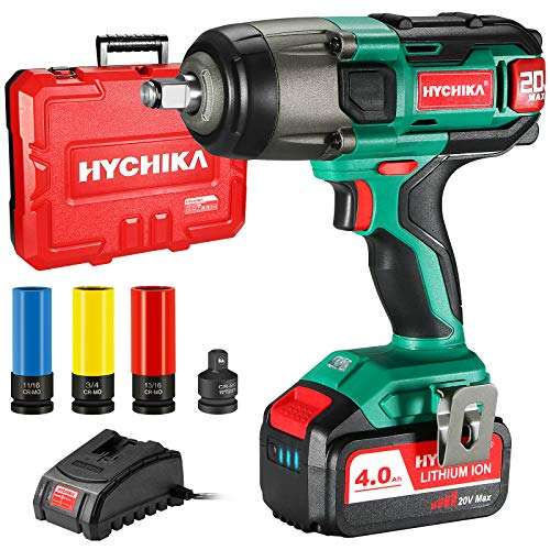Cordless Impact Wrench 20V Max, HYCHIKA 260 Ft-lbs Max Torque Impact Wrench, 1/2