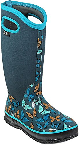 Bogs Women's Classic Butterflies Snow Boot, Navy Multi, 8 M US by Bogs