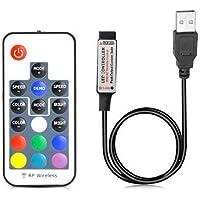 VIPMOON 1m USB DC 5V Kit de controlador LED- 17 teclas RF Control remoto inalámbrico Atenuador/Controlador LED en línea para 5050 3528 RGB LED Strip Lights