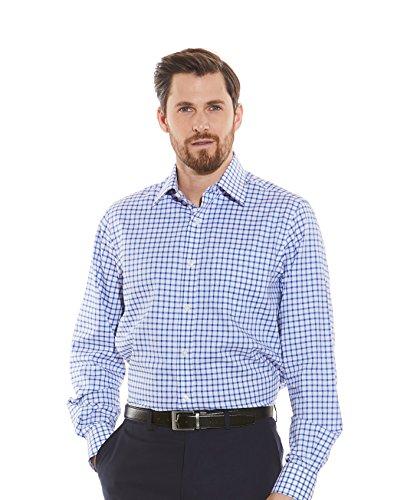 Savile Row Men's Blue White Windowpane Check Twill Classic Fit Shirt - Barrel Cuff 16