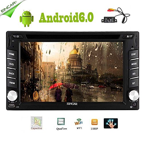 EinCar Android 6.0 Quad Core 2 din Car DVD CD Player 6.2 inch Double Din Capacitive Multi-Touch Screen GPS Navigation Radio Stereo Support Bluetooth/SD/USB/FM/AM/Wifi/Mirror Link/Rear Camera