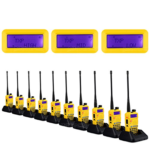 10-Pack NKTECH UV-5R Plus VHF UHF Tri-Power Hi/Mid/Low 8W 4W 1W Dual Band 136-174/400-520MHz Two Way Radio Ham Transceiver Walkie Talkie Li-ion Batteries Charger Yellow + 2X Speaker Mic by NKTECH
