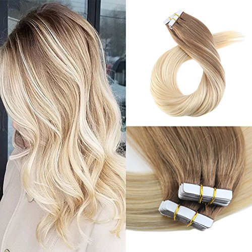 Moresoo 16 Inch Human Hair Extensions Glue in Hair Extensions Tape Hair 100G Full Head Set Tape in Remy Human Hair Dip Dye Colored Balayage #6 Brown Fading to Blonde #60 Hair 40PCS